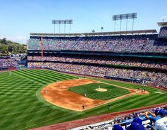 THINK BLUE: Day in the sun watching the Los Angeles Dodgers. #losangeles #la #america #usa #unitedstates #california #hollywood #ladodgers #dodgerstadium #architecture #backpacking #travelling by olliejfisher