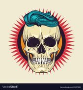 Color angry skull with hairstyle Royalty Free Vector Image , #affiliate, #skull,...