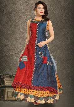 Readymade Art Chanderi Silk and Rayon Kurta in Blue and Red This Appealing Attire is Gracefully enhanced with Floral Print and Patch Border Work. This Sleeveless Attire is Crafted in Round Neck The Kurta Length is 58 inches and may Vary Upto 2 inches . Available with an Art Chanderi Silk Jacket in Maroon and Blue with Length 54 inches . Do Note: All accessories shown in image is for presentation purpose only. (Slight variation in actual color vs. image is possible. )