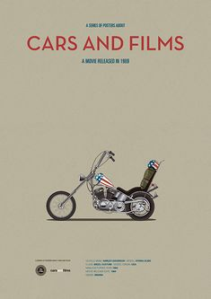 Poster of the motorcycle of Easy Rider. Illustration Jesús Prudencio. Cars And Films