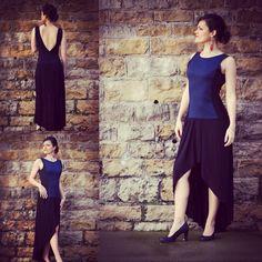 """Robe pour femme """"Anna"""", robe de soirée, longue et asymétrique, soir, party, party dress, dos nu, décolleté, Jean, denim, bleue, noir, black de la boutique AllByK sur Etsy"""