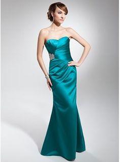 Mermaid Sweetheart Floor-Length Satin Evening Dress With Ruffle Beading (017014678)