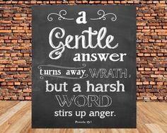 Bible verse, Scripture Art, scripture printable, A gentle word turns away wrath, Proverbs 15:1, Printable, DIY, Home decor on Etsy, $5.00