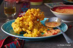 Mais-Fritter mit Chili-Käsesauce Guacamole, Chili, Fritters, Cauliflower, Dips, Grains, Jam Jam, Curry, Tex Mex