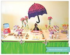 Mary Poppins Penquin Umbrella Girl Party Planning Ideas Decorations