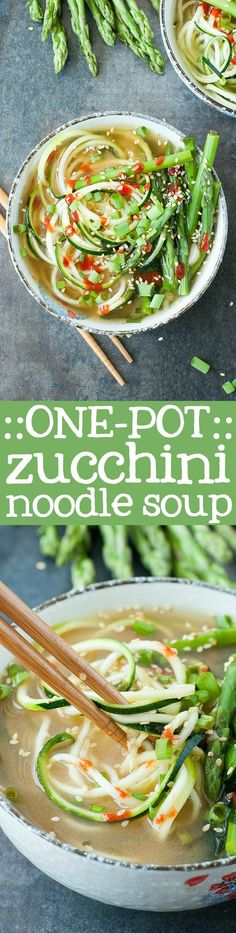 One-Pot Spiralized Zucchini Noodle Soup: Ready in under 10 minutes!