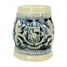 Germany Bayern Coat of Arms Cobalt Blue Beer Stein Shot Glass