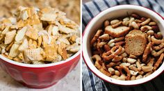 Everyone loves the back-of-the-box recipes on a Chex cereal package. But there are so many next-level recipes that deserve to be explored — from simple upgrades like adding cheese or garlic powder, to deliciously over-the-top concoctions that taste like cupcakes. Here are five sweet, savory — and sweetand savory — party mixes that'll make your snack situation on Super Bowl Sunday a touchdown.1.