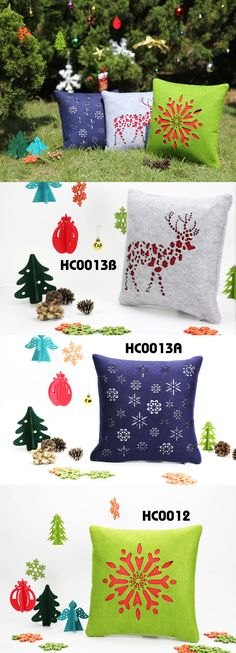 First unique creative design laser cut cute pattern felt cushion /Christmas snowflake ,deer and etc.