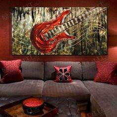 "Aliexpress.com : Buy Modern home decoration metal wall sculpture hanging art music guitar 50 x 100 x 1.8cm (19.7"" x 39.4"" x 0.7"") with Vids from Reliable metal wall art suppliers on ALLzLIT Studio 20$ off for orders from pinterest / allzlit.com"