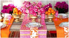 Pink, Gold and Orange Table Setting