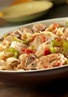 This pasta cooks in the same skillet with the chicken, veggies like bell peppers and onions, and a simmering tomato sauce with hints of garlic and oregano. All of the flavors combine and infuse into the pasta for one delectable one-pot dish recipe. Chicken Broth Recipes, Turkey Recipes, Baby Food Recipes, Cooking Recipes, Food Baby, Yummy Recipes, Skillet Recipes, Skillet Meals, Dinner Dishes
