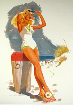 Beach Art Pin-up / Vintage Bathing Suit illustration by Ernest Chiriaka  cute sandals!