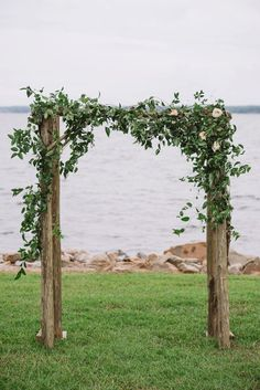Romantic Lakeside Navy and Blush Wedding | Joshua Aaron Photography | Outdoor wedding arch