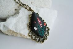 red and black necklace Black Pendant Necklace by LandOfJewellery, $28.00
