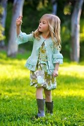 Trish Scully Mums The Word Blue Ruffled Sweater and Print Wrap Dress Cute Girl Outfits, Kids Outfits, Trendy Fashion, Kids Fashion, Girls Designer Clothes, Scully, Girls Shopping, Cute Girls