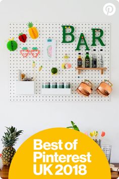 RUNNER UP – Best imaginative idea. Pinterest UK Interior Awards 2018. Creating a Totally Tropical 'Mini Bar' using Peg board by The Ordinary Lovely.