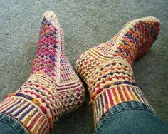 Fiesta feet by lucy neatby.  The most exciting socks you will ever knit or wear. Designed for knitters with a low boredom threshold.:)