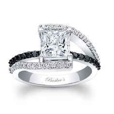Black Diamond Engagement Ring - 7935LBKW - This classic white gold diamond engagement ring features a prong set princess cut diamond center. The split shank is adorned with shared prong set diamonds and the shoulders rise up to cradle the center. A black diamond bridge graces the center for an added touch of elegance. Also available in 18k and Platinum.
