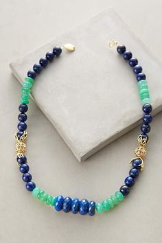 Stonestack Necklace in navy and aqua by Indulgems on anthropologie.com