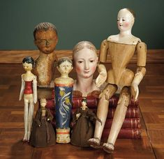 """""""For the Love of the Ladies"""" - October 1-2, 2016 in Phoenix, AZ: 436 Collection of Early Wooden Dolls and Doll Relics"""