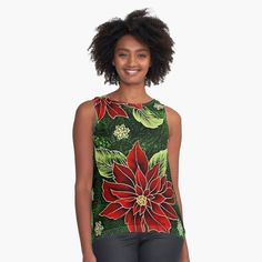 Green Christmas, Christmas Gifts, Red Green, Chiffon, Tank Tops, Printed, Awesome, Floral, Fabric