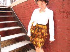 feather trim frankensteined skirt