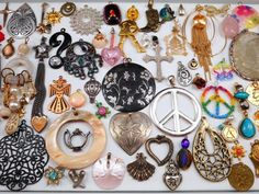 Huge  75 PC Charm Pendant Jewelry Lot Great for Resale~Crafts~Re-Purpose-Etc