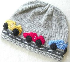 Knitting Pattern for Race Car Hat - This beanie pattern includes 5 sizes: Newborn * Baby * Toddler * Child * Adult