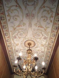 13 foot long barrel vaulted ceiling painting on canvas by James Evinczik,Villa Designs, Nashville Tn.