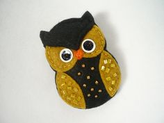 Felt owl french barrette - black and yellow mustard owl french barrette  $9