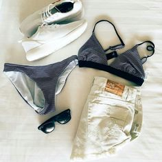 RH Swimwear's Bralette and Low riser bottoms in Navy stripe Bikini Swimwear, Swimsuits, Bikinis, Recycled Fabric, Navy Stripes, Bikini Fashion, One Piece Swimsuit, Swimming, Flat