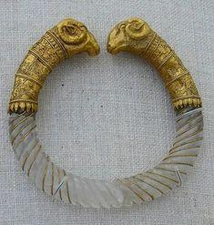 Ram's head rock-crystal bracelet styled like a torque (ca. 330-300 B.C.). Found in Macedonia, near Thessaloniki.