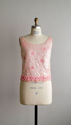 1960s TICKLED PINK sequined beaded top by VacationVintage, $56.00