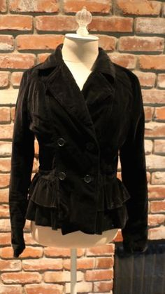 Sashimi-black-velvet-ruffle-jacket-Medium