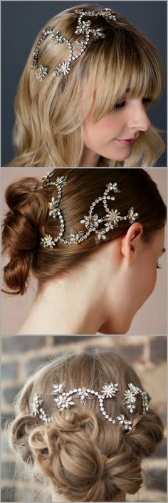 Golden Bed Hair Vine by Debra Moreland Paris.  3 different ways to wear this bohemian glam bridal hair accessory.  Now on sale at Perfect Details.
