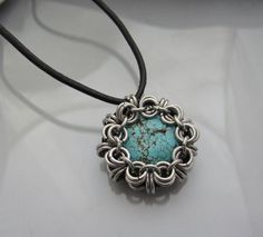 Chainmaille Pendant on Faux Leather cord with Magnesite Turquoise Bead. $22.00, via Etsy.
