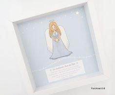 Taufpatengeschenke, Geschenke zur Geburt, Schutzengelbild, Druck Engel mit Stern blau 3