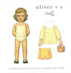Wonderful girl's shirt and shorts sewing pattern from Oliver + S.  Very well designed and easy to follow.  Get yours at www.chadwickheirlooms.com
