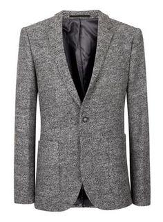Grey Textured Skinny Fit Blazer Skinny Fit c7f8953bc