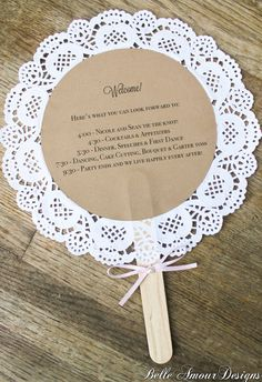 Doily wedding program fans by BelleAmourDesigns on Etsy, $2.50