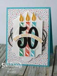 46 Trendy Birthday Diy Banner Stampin Up Diy 50th Birthday Card, Birthday Cards For Men, Handmade Birthday Cards, Greeting Cards Handmade, Birthday Invitations, Birthday Banners, Birthday Candles, 80 Birthday, Office Birthday