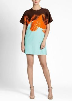This tourqoise and orange dress makes me want to take a tropical vacation | Palm Tree Knit Shift Dress