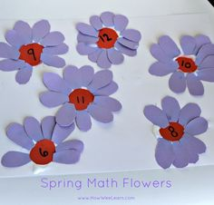 These spring math flowers make great math activities for preschoolers!  Numeral recognition, one-to-one correspondence, fine motor skills , and a bright and cheery craft!