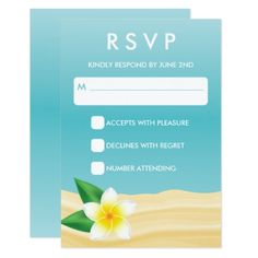 #wedding #responsecards - #Tropical Frangipani RSVP Beach Wedding Response Card