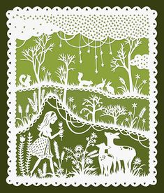 Girl and Deer in a Meadow - Original Papercut Illustration 8x10 Print via SarahTrumbauer on Etsy.