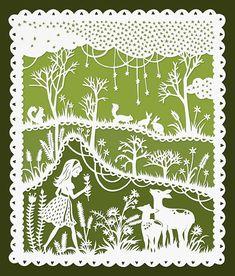 Green Meadows Girl and Deer Original Papercut by SarahTrumbauer