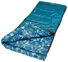 Coleman Boys Youth Rectangle Sleeping Bag, Blue Camo - Rated to 45 degrees.  Patented durable no-snag zipper for easier opening and closing.