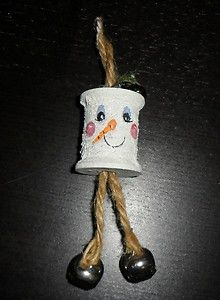 Hand Painted Antique Wood Thread Spool Christmas Holiday Decorations Snowman | eBay