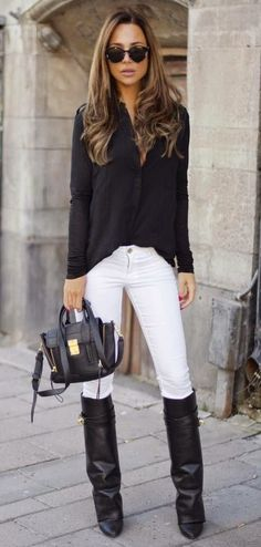 Black shirts white pants high knee boots handbag sunglasses. Summer city women closet ideas fashion style @roressclothes apparel clothing ladies outfit